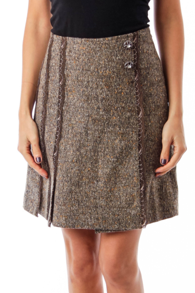 Brown Lace Detail A-Line Skirt