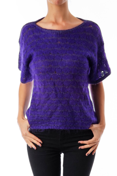 Purple Round Neck Fuzzy Knit