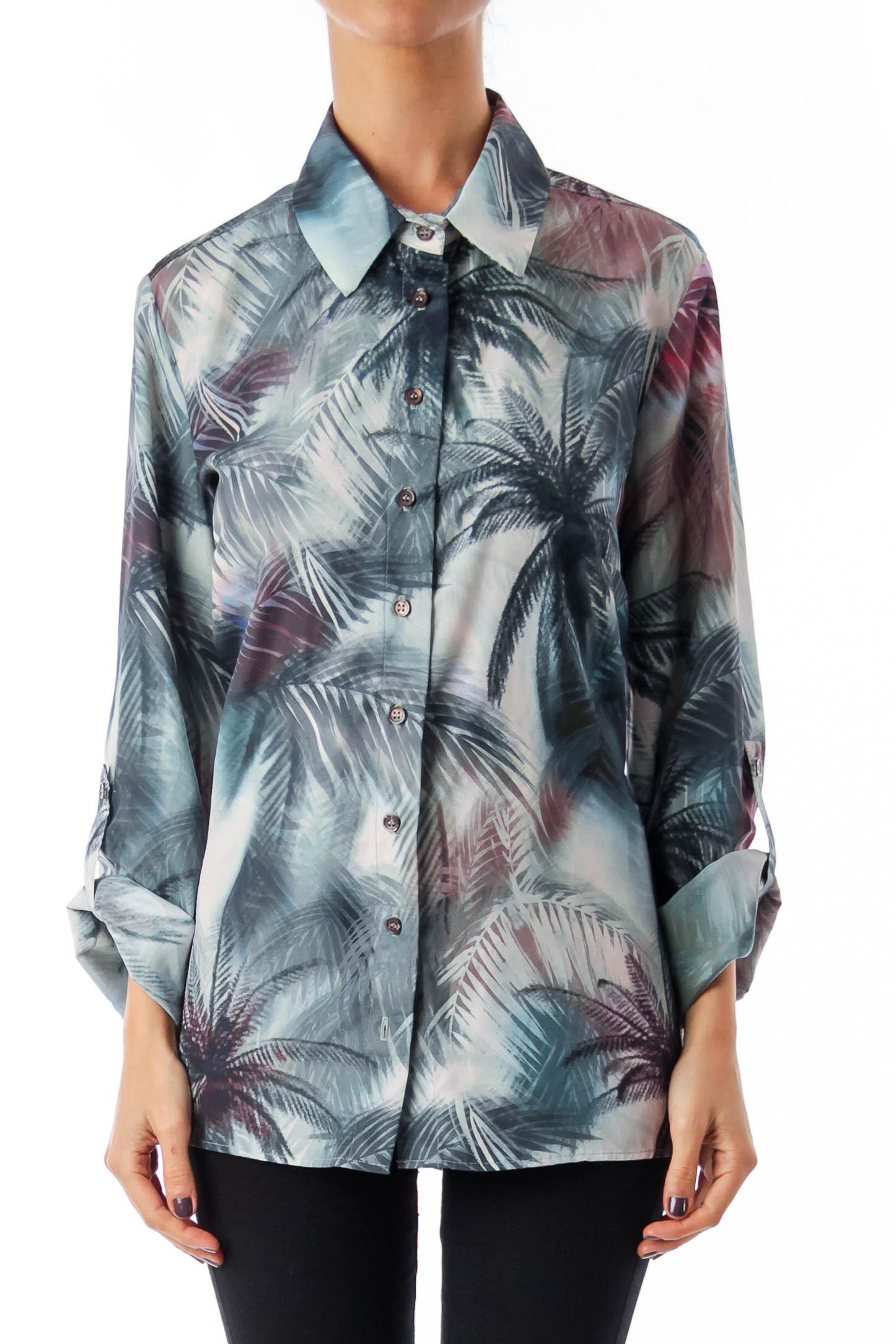 Green Tropical Tree Printed Shirt