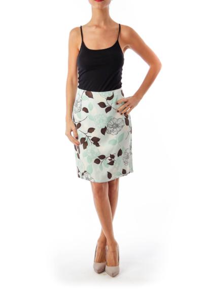 Mint Green Flower Print Pencil Skirt