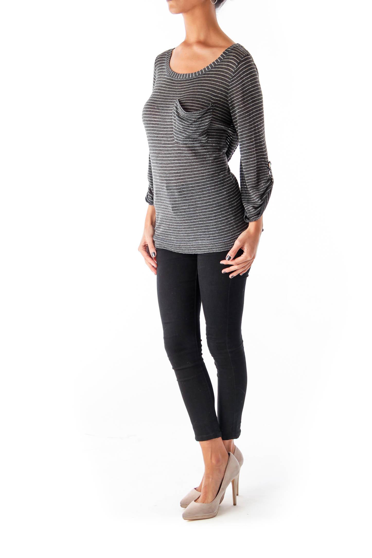 Gray & Metallic Stripe Top
