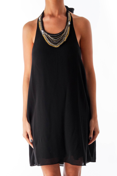 Black Metallic Necklace Dress