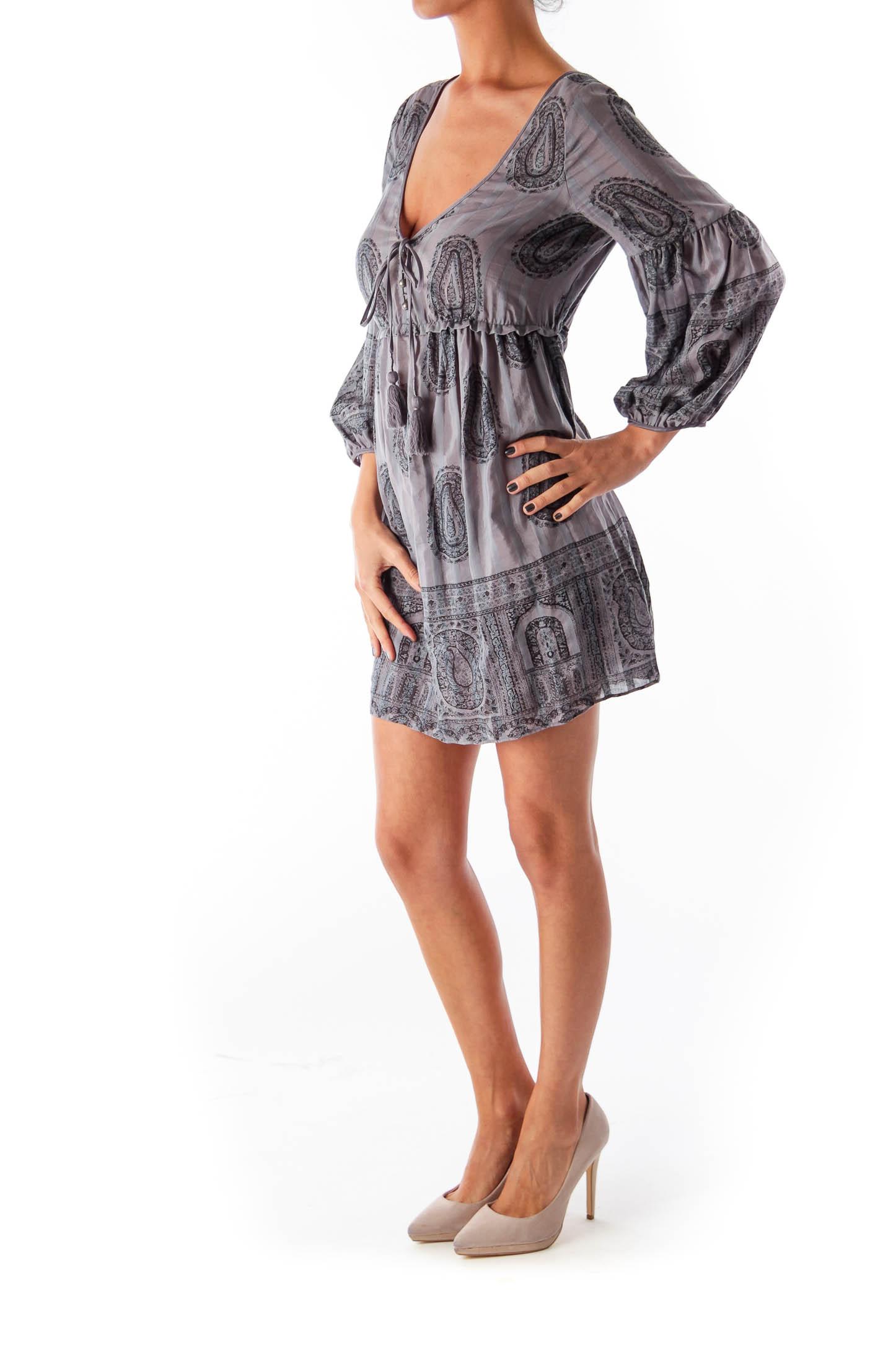Gray Paisley Print Dress