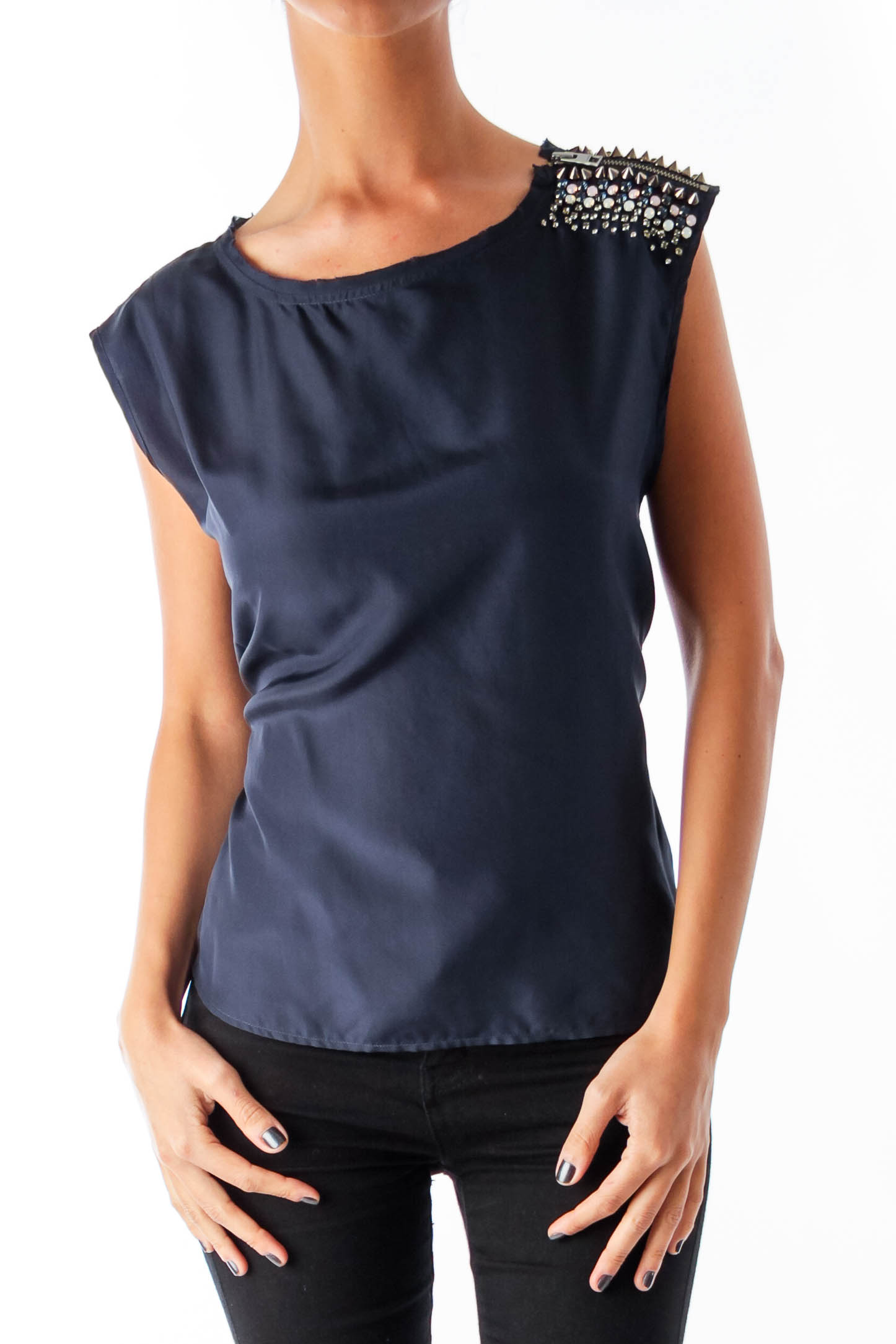 Navy Shoulder Embellished Top