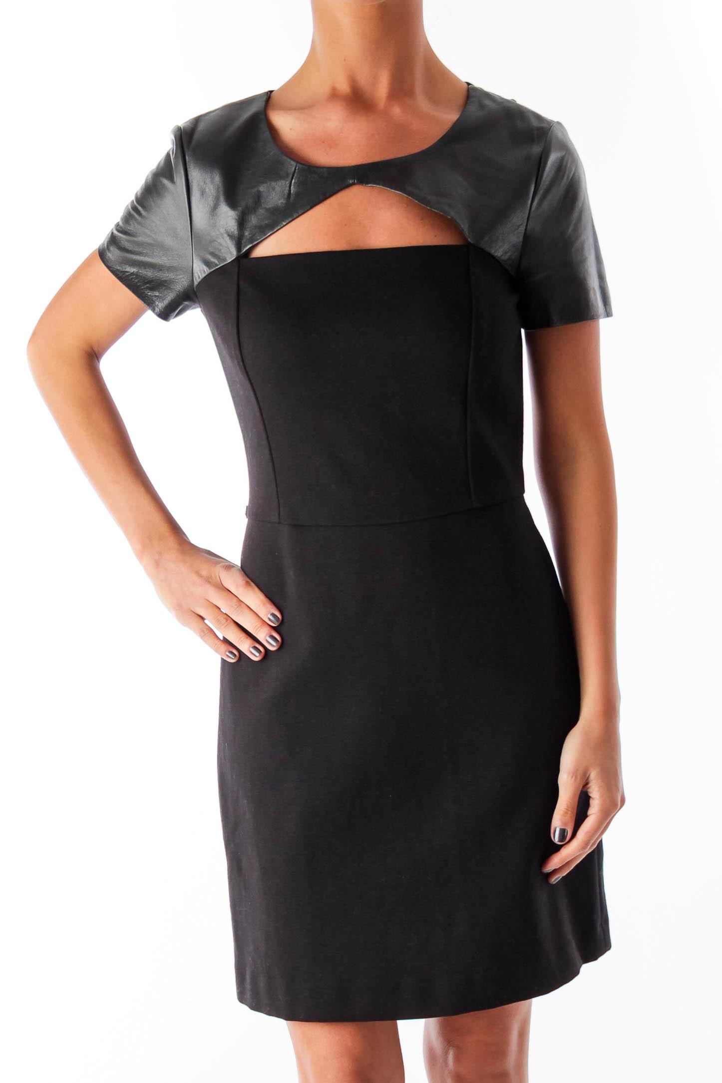 Black Leather Shoulder Dress