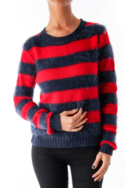 Red & Navy Stripe Sweater
