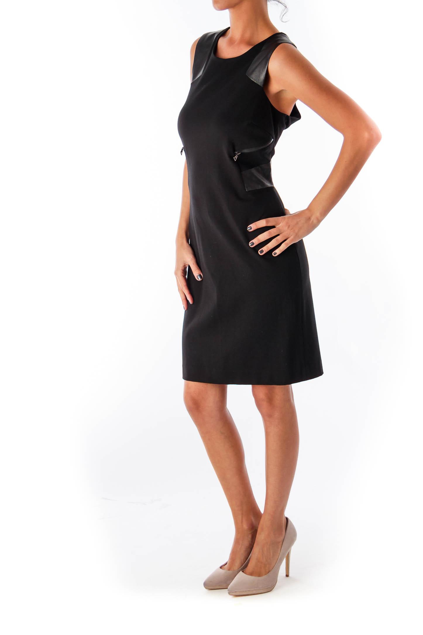 Black Leather Details Shift Dress