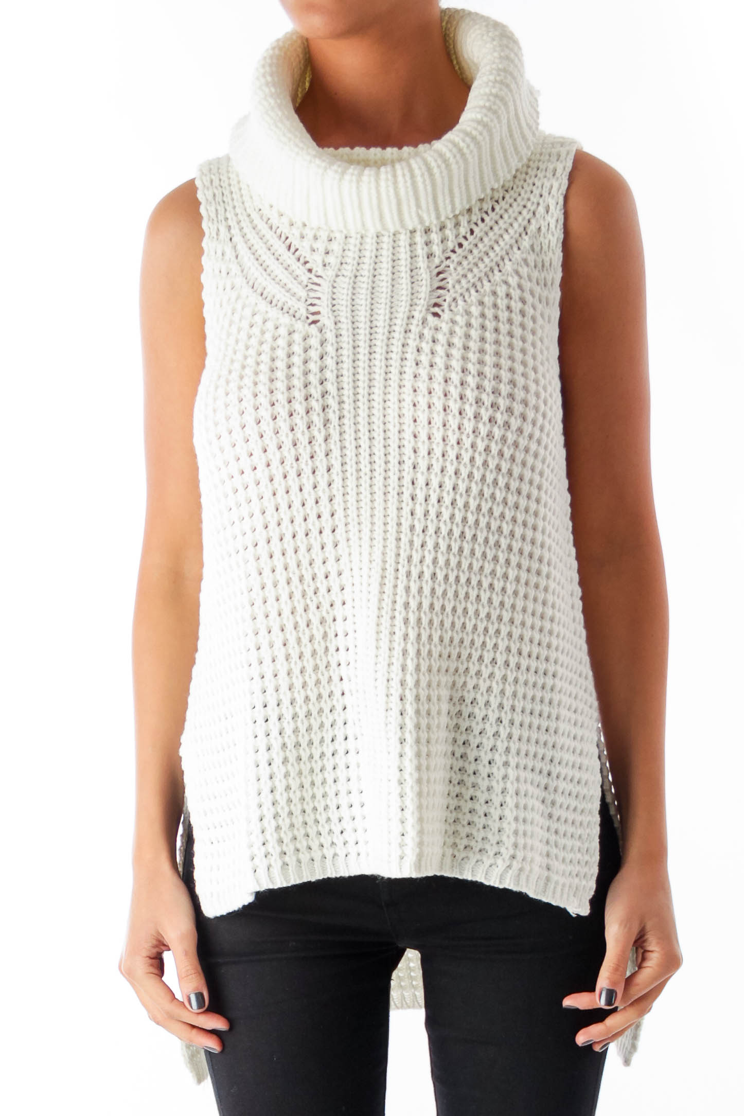 White Turtleneck Sleeveless Knit