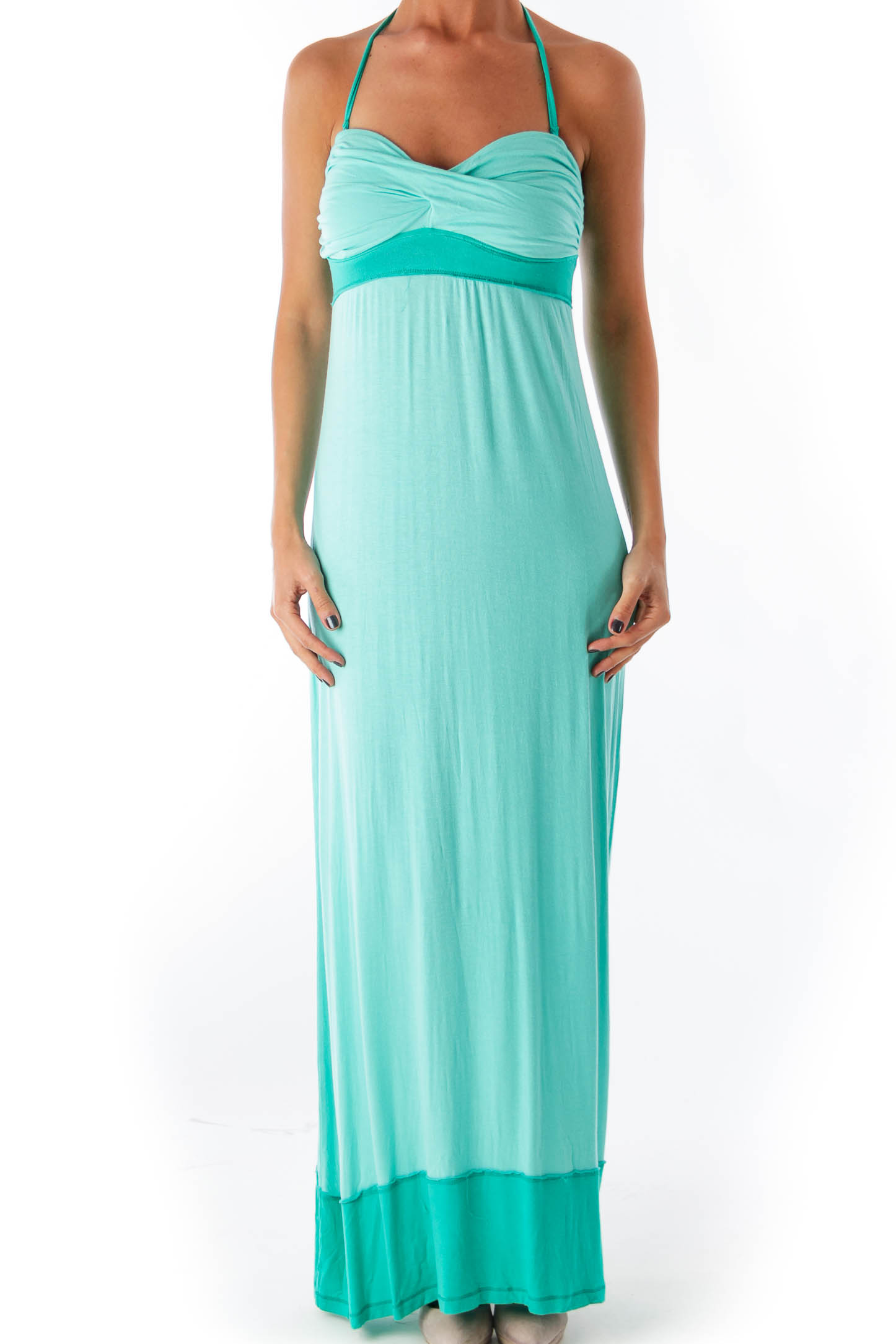 Green Strapless Long Dress