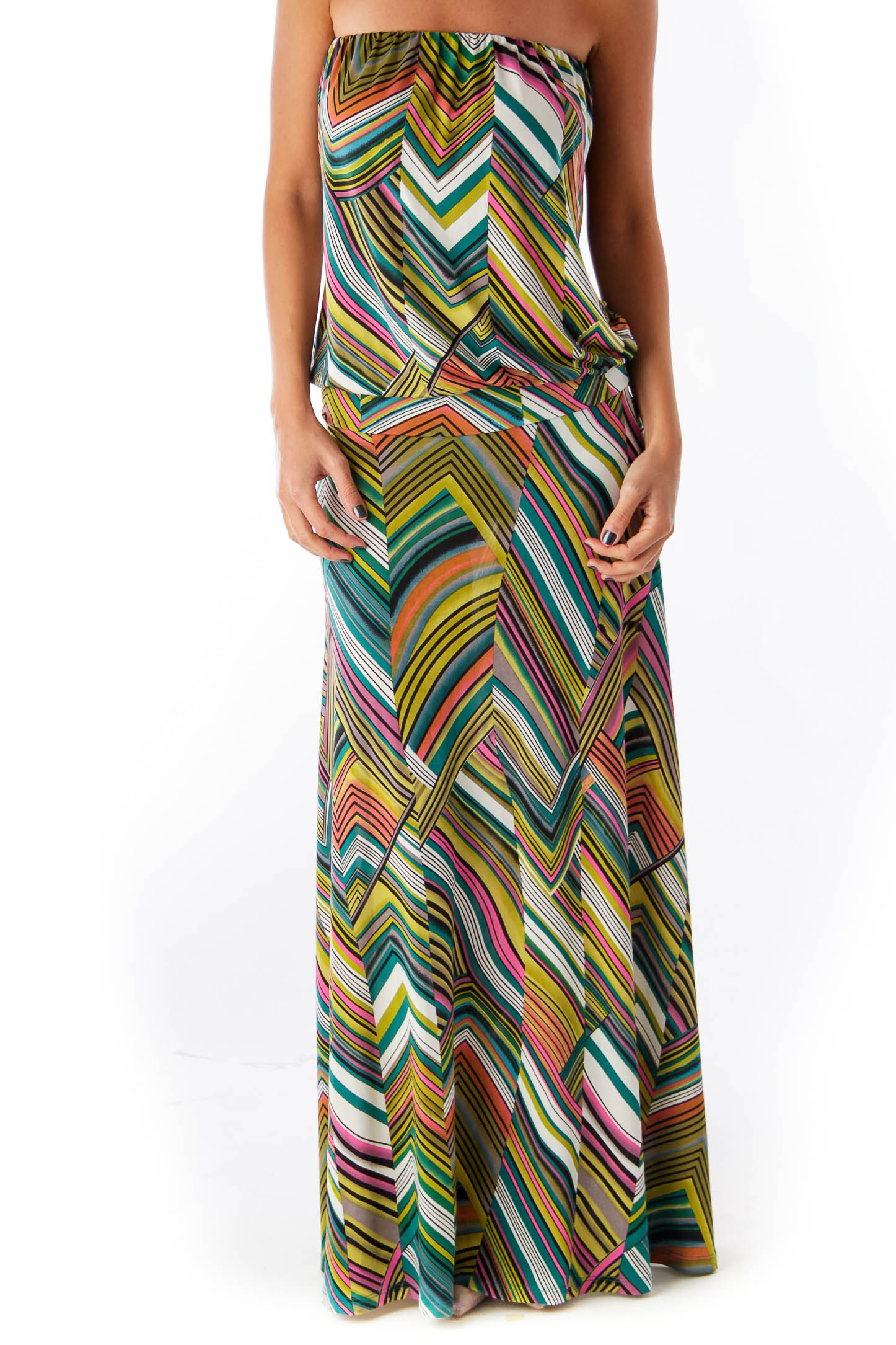 Print Chevron Long Strapless Dress