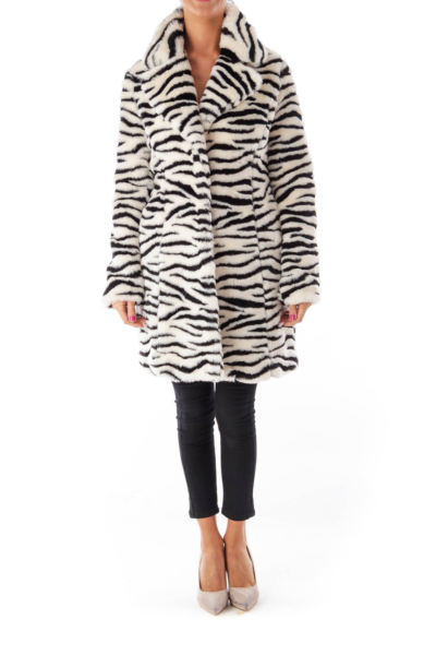 Black & White Zebra Faux Fur Coat