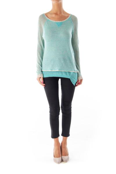 Turquoise Stripe Asymmetric Shirt