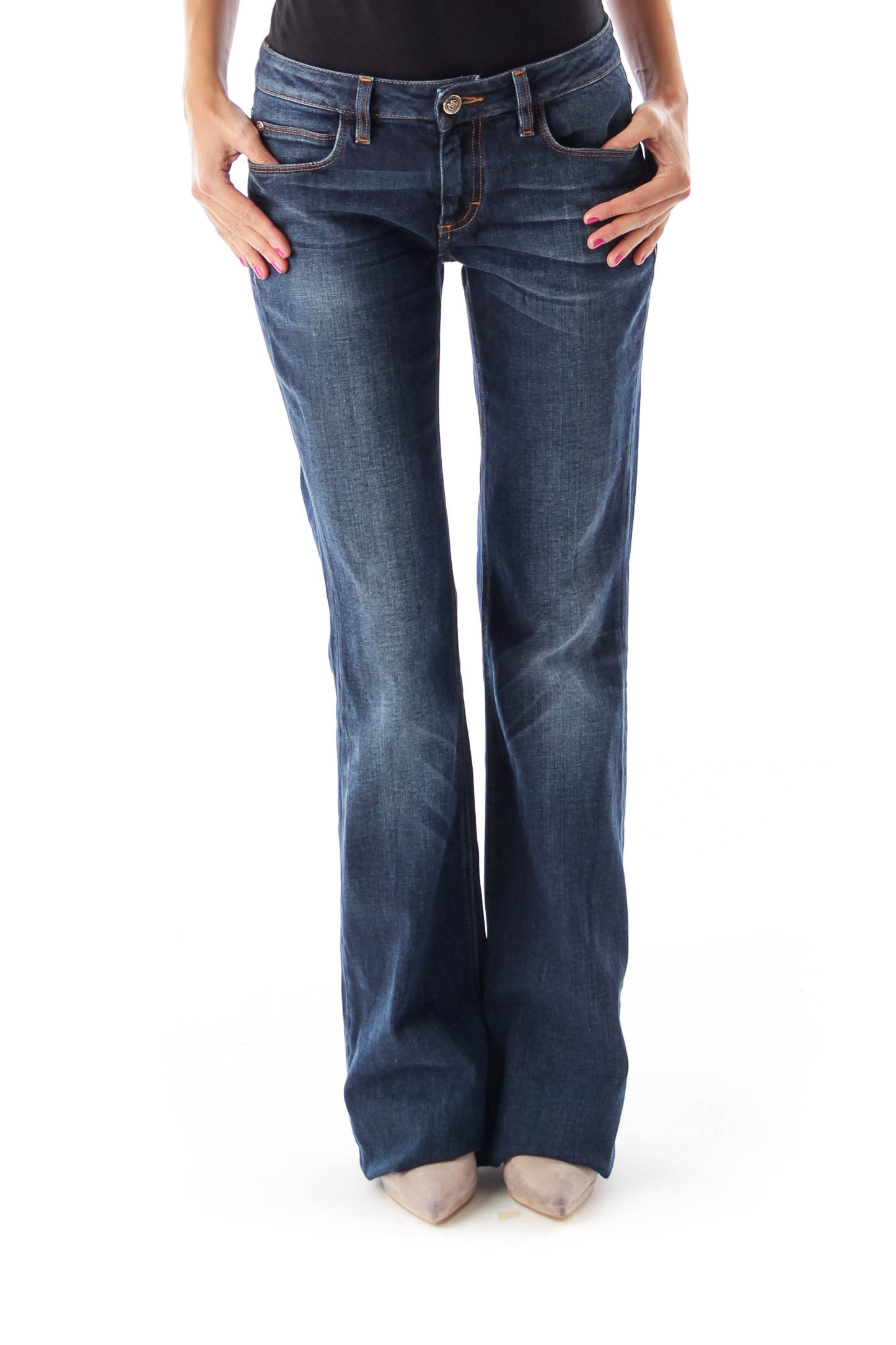 Dark Blue Washed Flare Denim