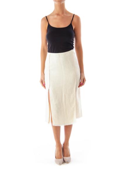 Beige Slitted Woven Midi Skirt