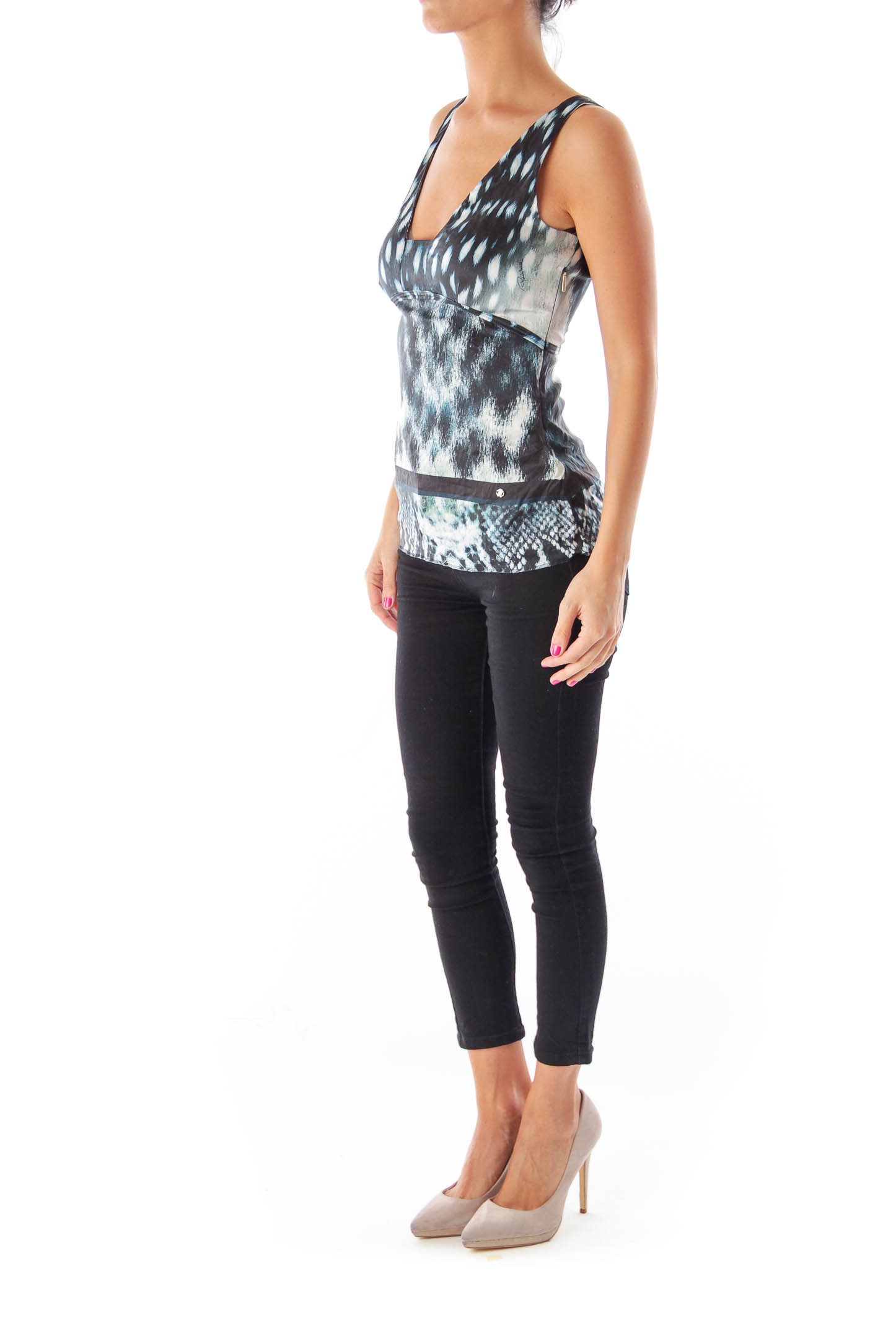 Blue & Black & White Print Top
