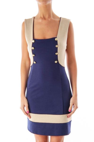 Navy & Beige Nautical Dress