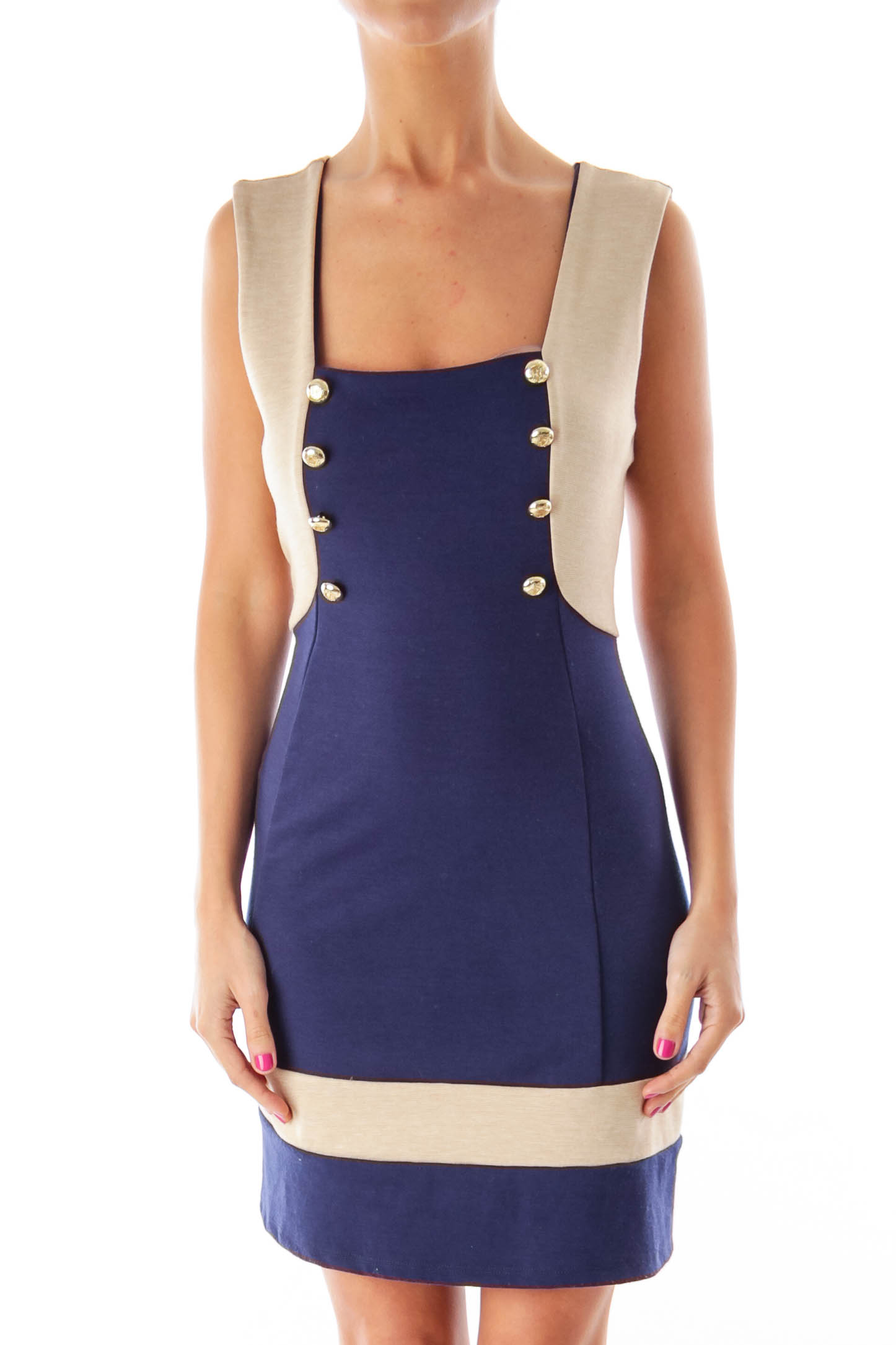 Navy & Beige Nautical Dress