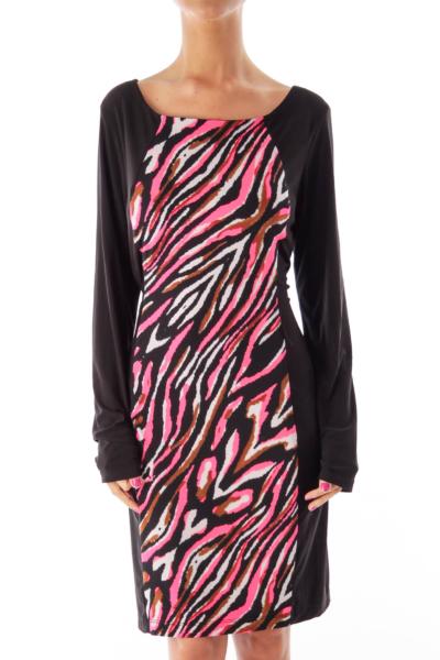 Black Front Print Dress