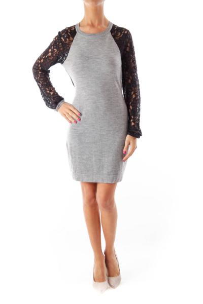 Gray & Black Lace Details Dress