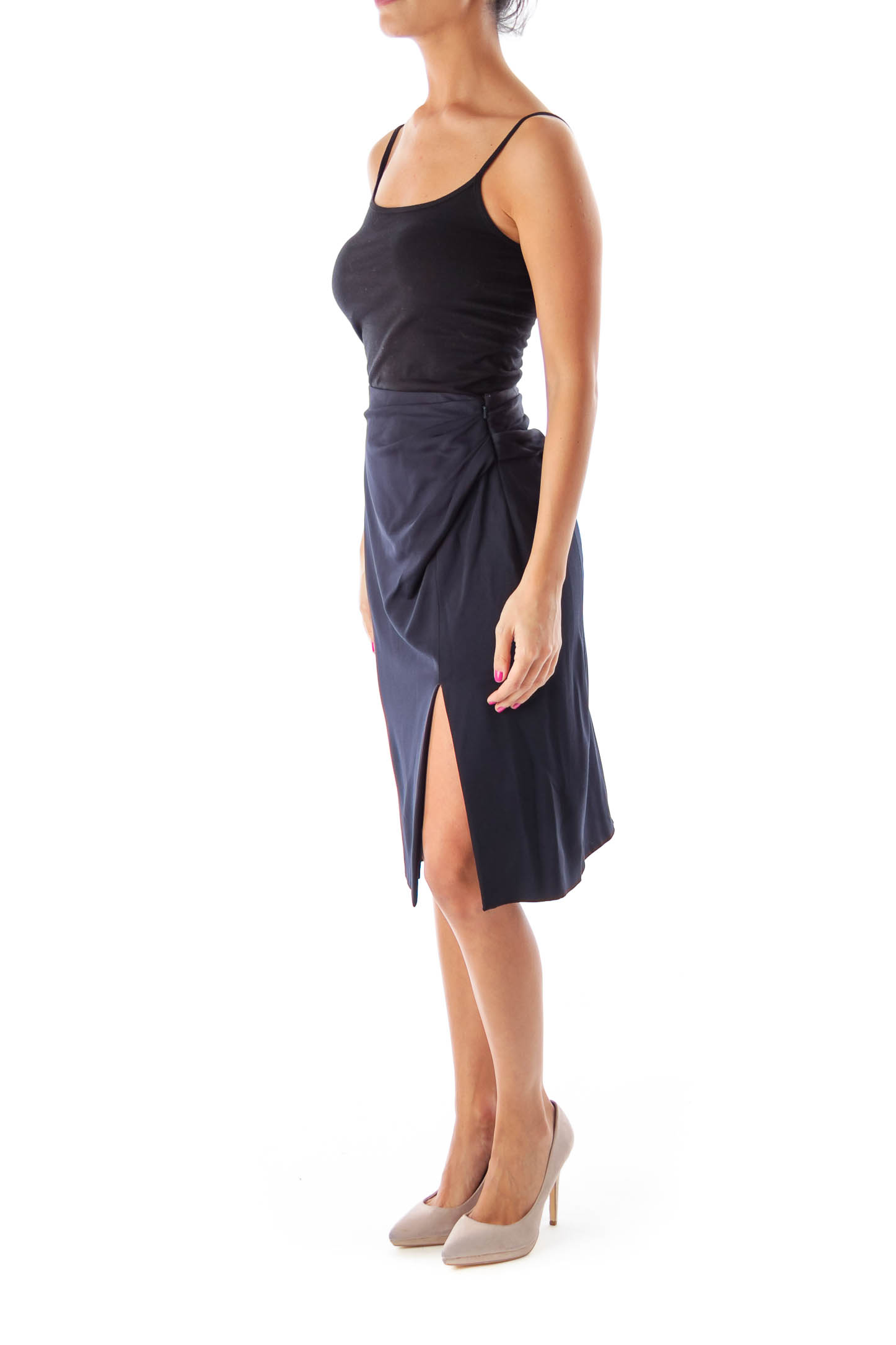 Navy Knee Length Skirt