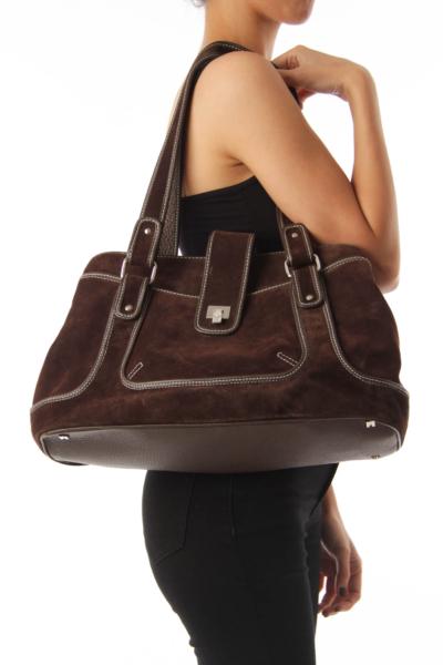 Brown Pony Hair Suede Shoulder Bag
