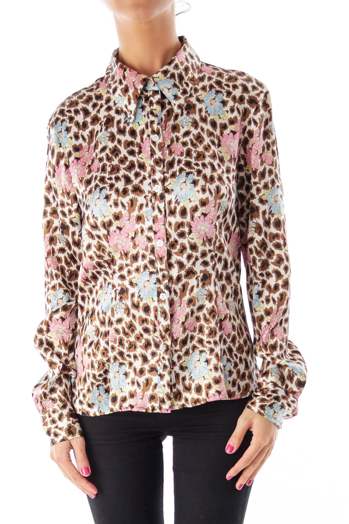 Animal Print & Floral Blouse