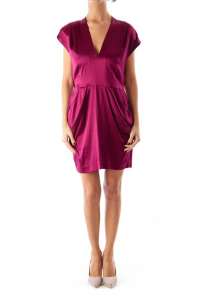 Burgundy V-Neck Dress