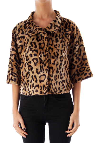 Leopard Print Faux Fur Crop Coat