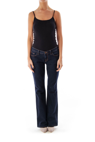 Dark Blue Mid-Waist Flare Denim