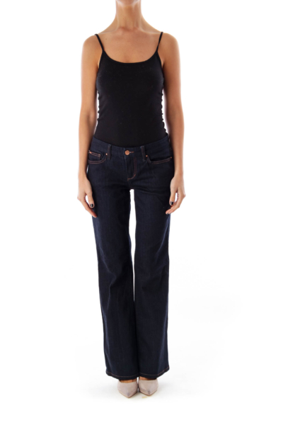 Dark Blue Low-Waist Flare Jeans