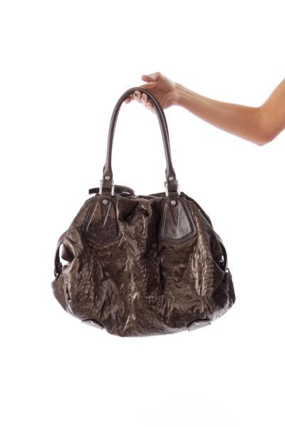 Brown Textured Shoulder Bag