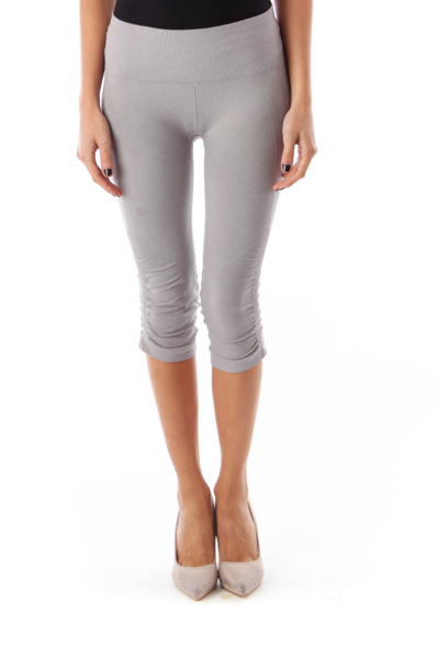 Gray Scrunched Crop Leggings