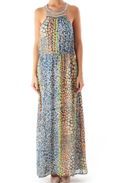 Multicolor Print Embellished Maxi Dress
