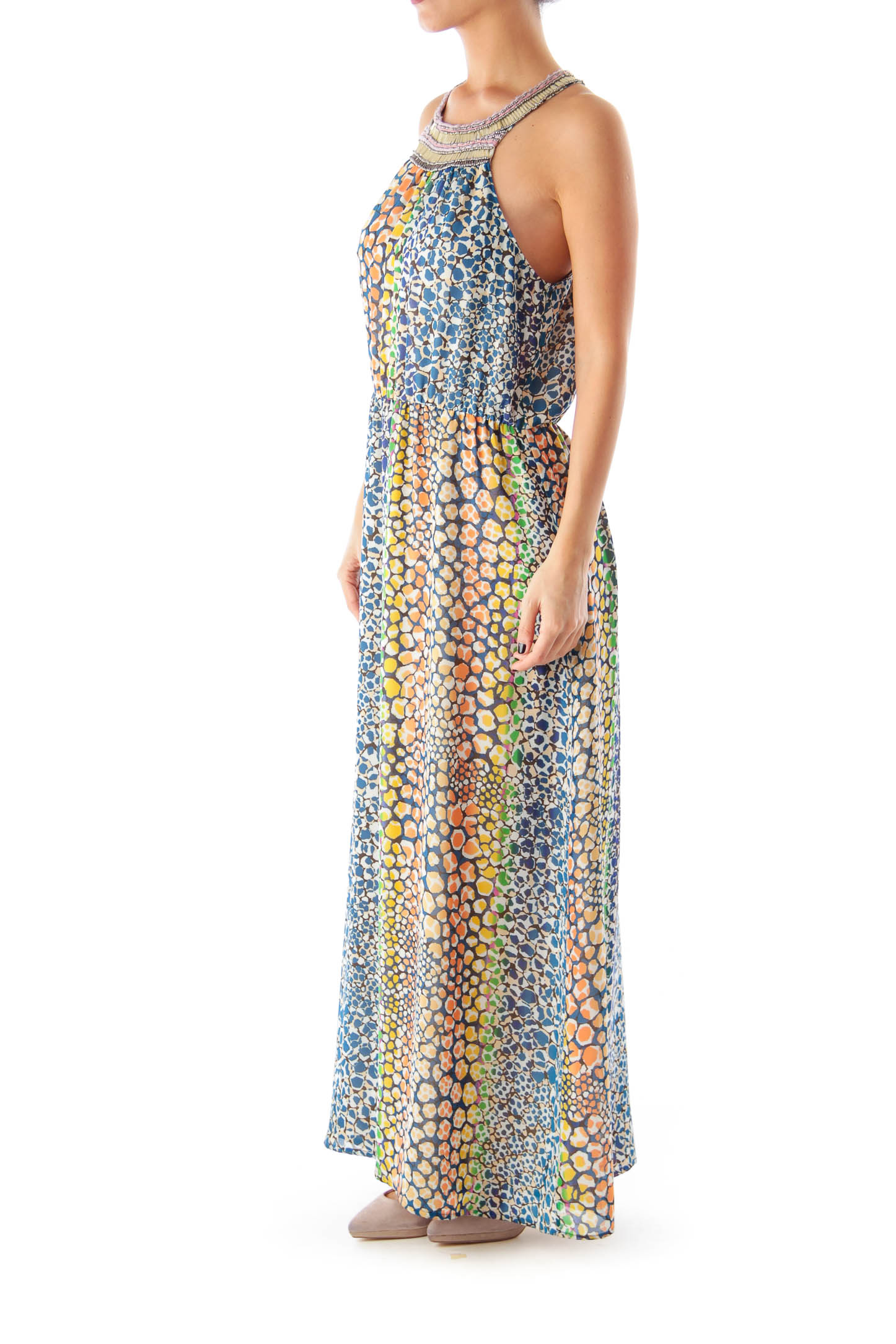 Multicolor Print Embellished Maxi Dress