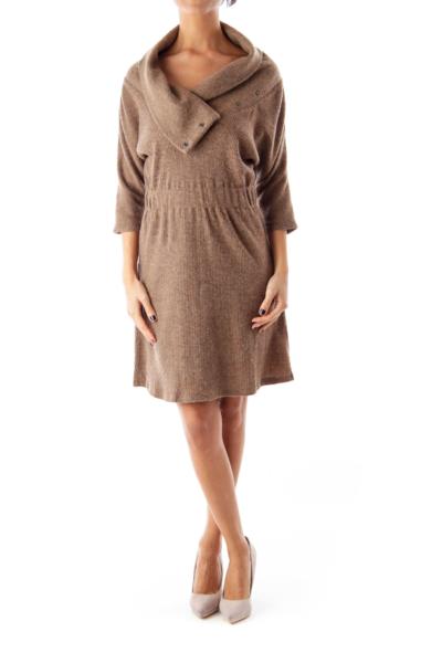 Brown Knit Sweater Dress
