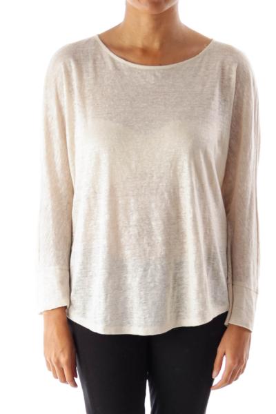 Beige Metallic Bat Sleeve Shirt