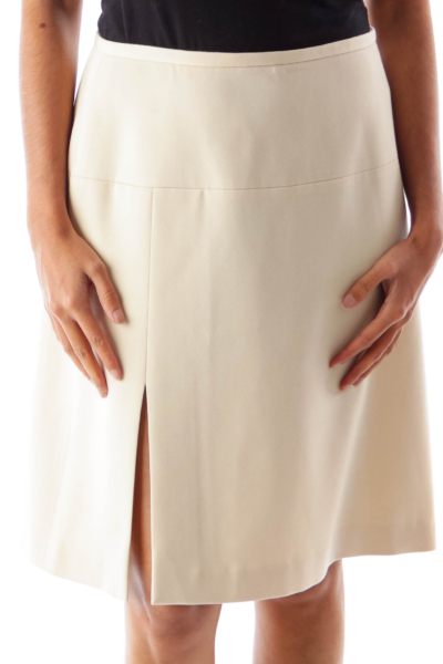 Beige Side Slit Skirt