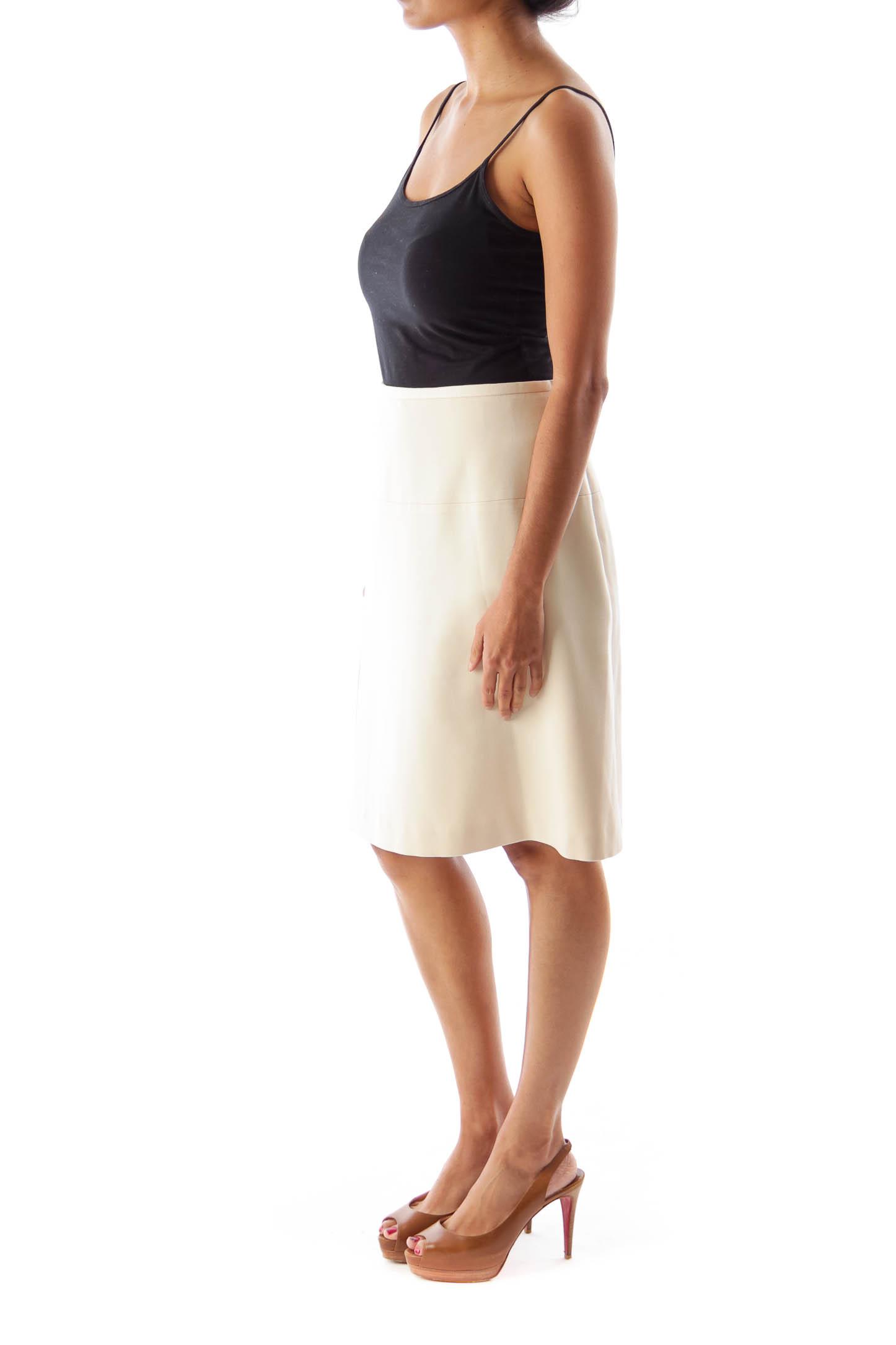 Beige Side Slit Skirt