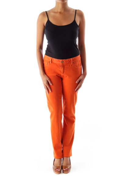 Orange Straight Denim Pants