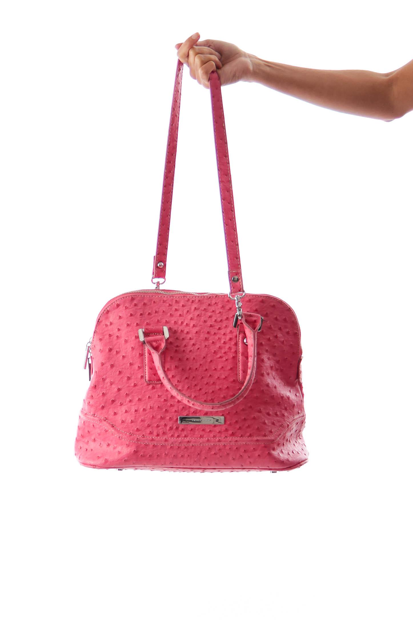 Pink Ostrich Satchel Bag