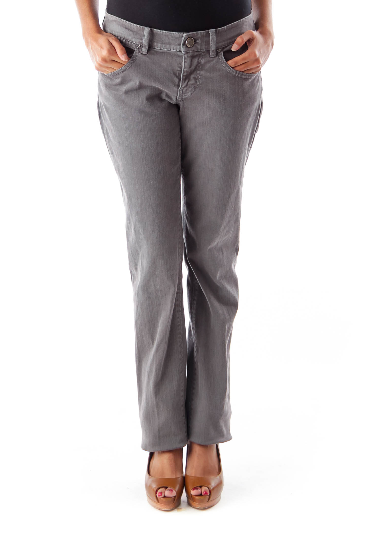 Gray Classic Fit Denim Pant