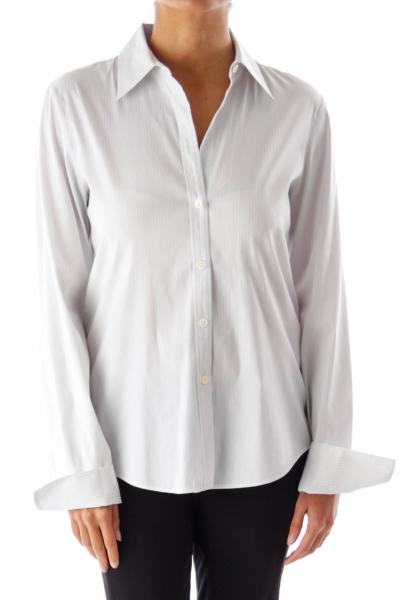 White & Blue Stripe Shirt