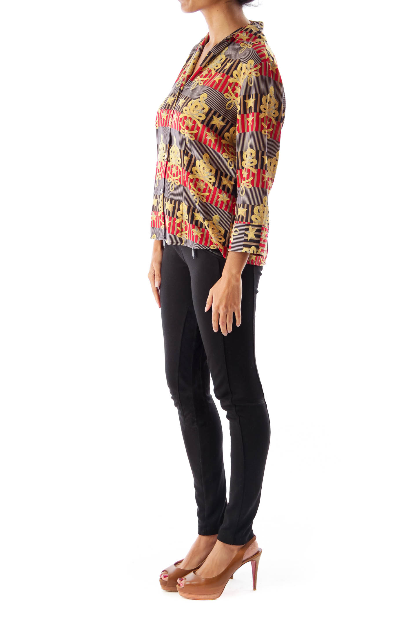 Navy & Red Print Blouse