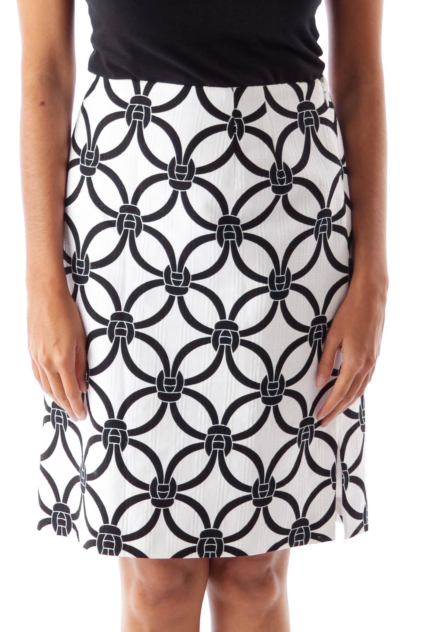 Black & White Chain Print Skirt