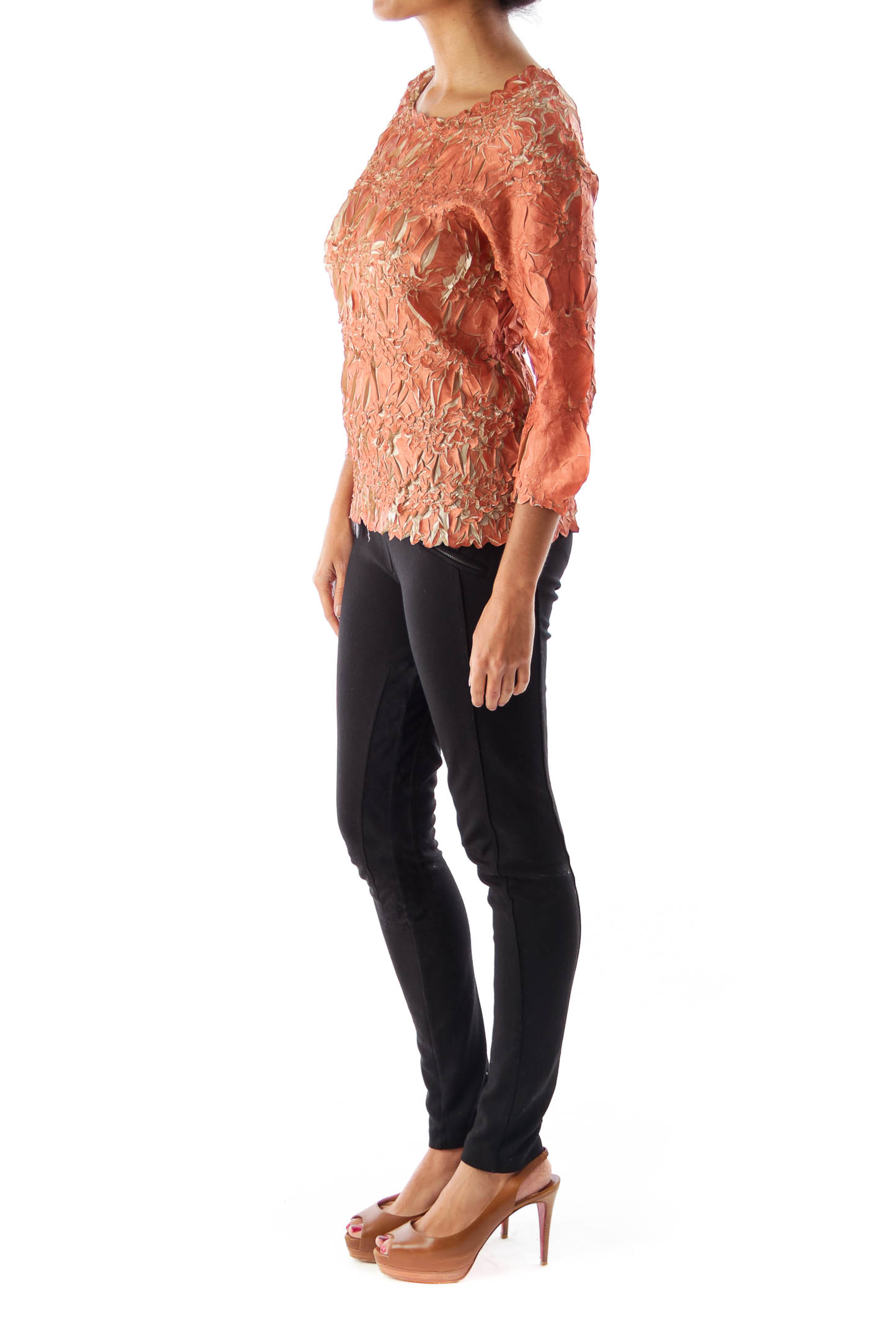 Brown Crinkle Stretch Shirt