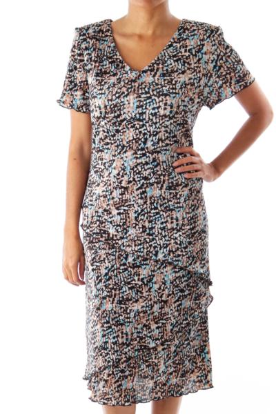 Black & Blue & Beige Layered Dress