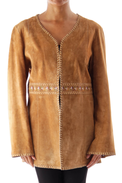 Brown Embroidered Boho Jacket