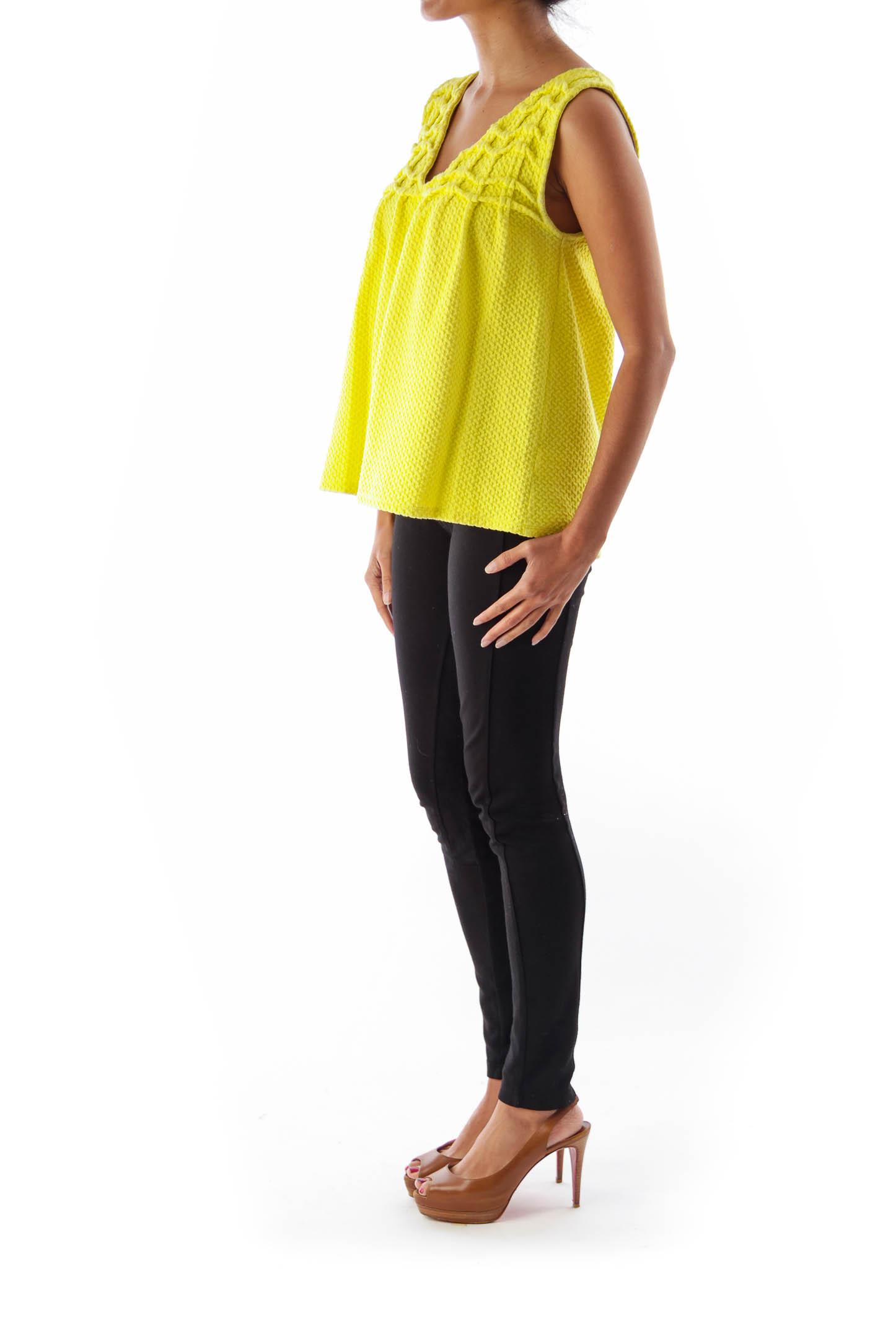 Green Textured Sleeveless Shirt