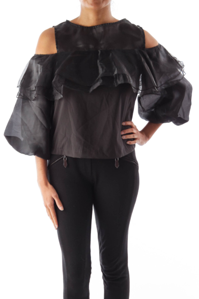 Black Shoulder Cut Shirt