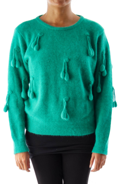 Green Vintage Cherry  Sweater